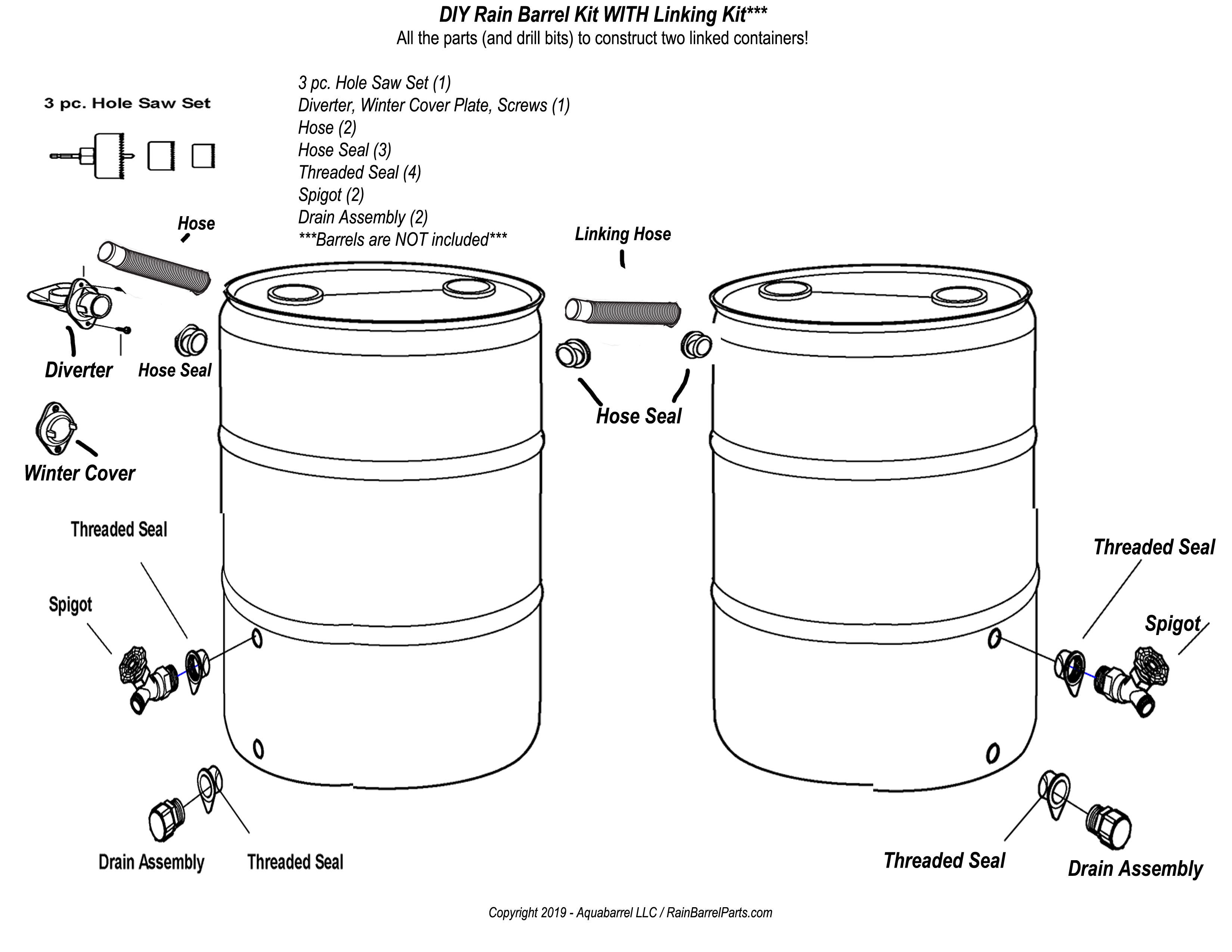 Universal EarthMinded Rain Barrel Kit with Linking Kit